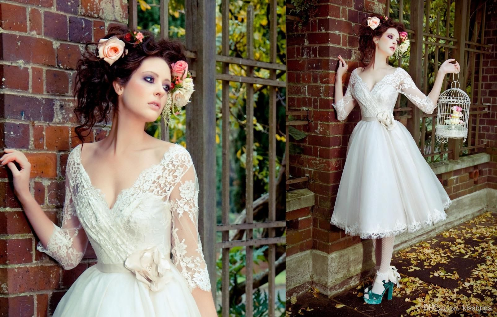 Discount 2014 hot sale short wedding dresses lace draped