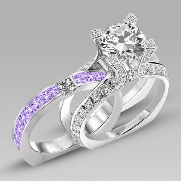Brilliant Cut Lilac Amethyst Two In One Rhodium Plating Sterling Silver Engagement Ring Bridal Set