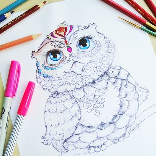 owl coloring page - Owl Coloring Page For Adults