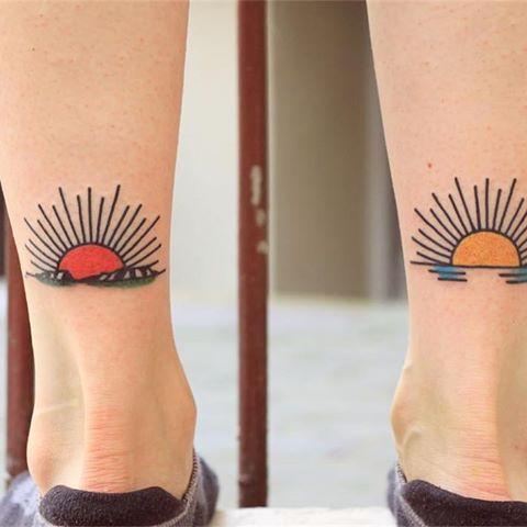 Two Lil Landscapes For Maria Landscape Sunrise Sunset Mountains Seaside Smalltattoos Bydgoszcz Tattooing T Sunset Tattoos Sun Tattoos Sunrise Tattoo
