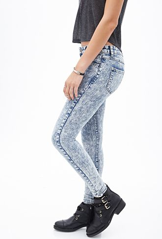 Low-Rise - Acid Wash Skinny Jeans   FOREVER 21 - 2000057199