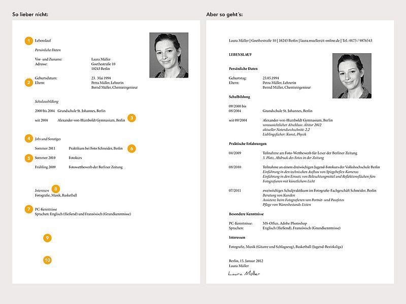 Lebenslauf 8. Klasse (Schule, Praktikum) | Bewerbung | Pinterest ...
