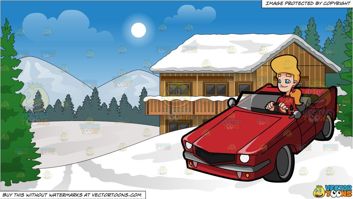 A Woman Driving A Sexy Muscle Car And Snow Covered Ski Chalet