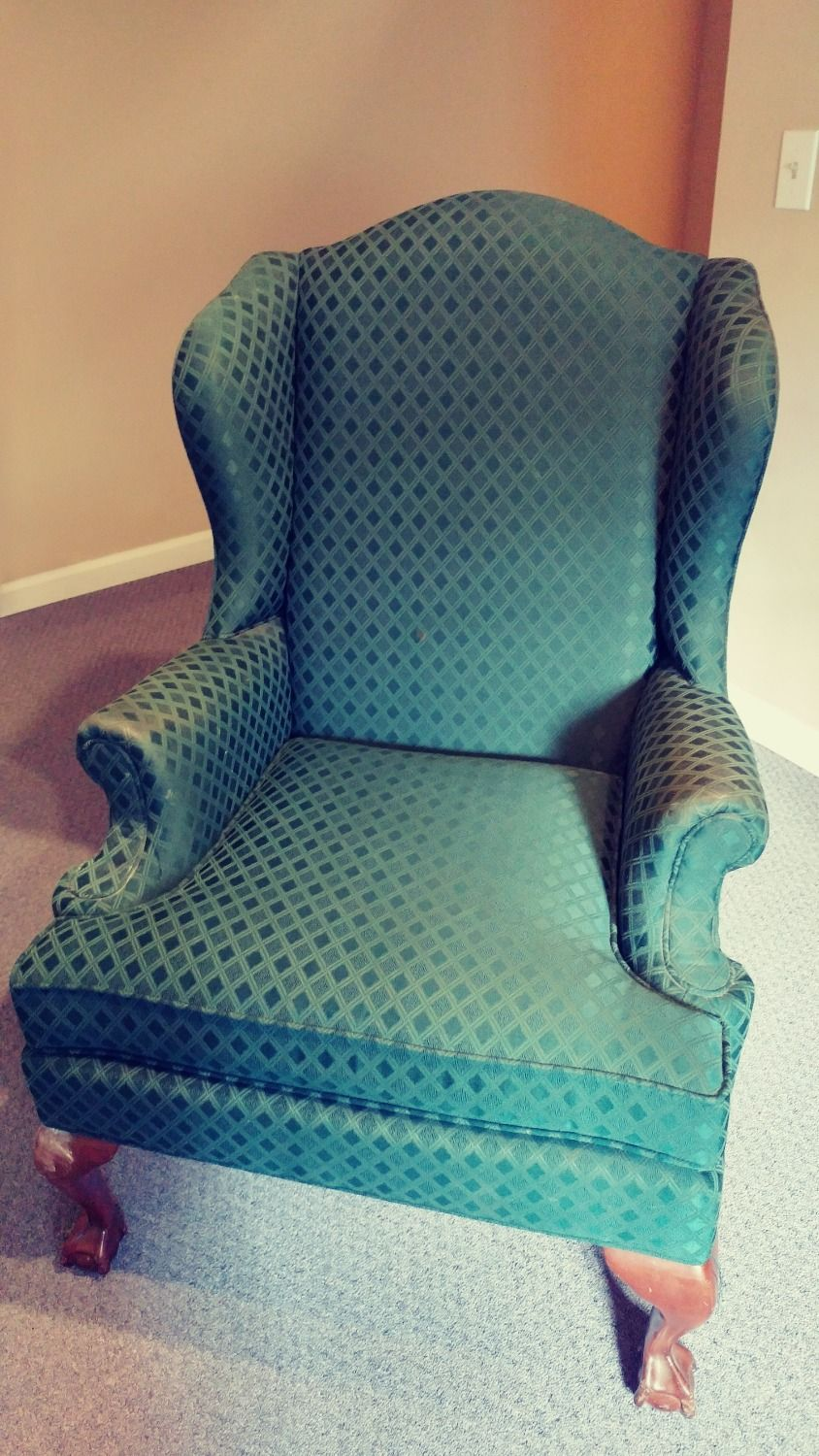Antique chair green pattern footed click here httpswww