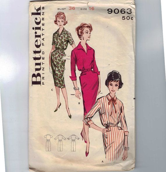 """1960s Vintage Sewing Pattern Butterick 9063 Misses Sheath Dress Collar Pockets Size 16 Bust 36 60s ~ side placket zipper opening (14"""")"""