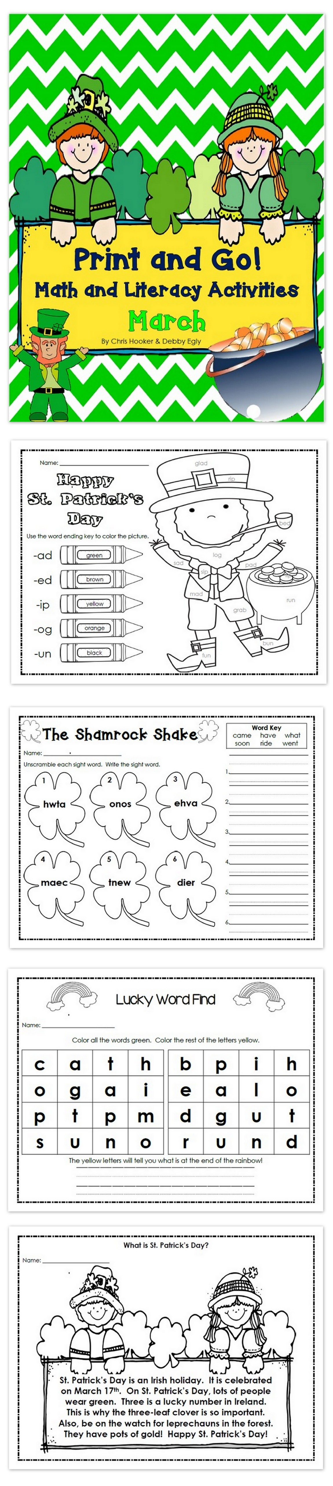 Print And Go March Math And Literacy Activities