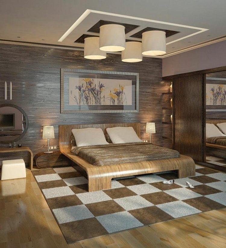 schickes Schlafzimmer in Braun mit mehreren Akzenten aus Holz