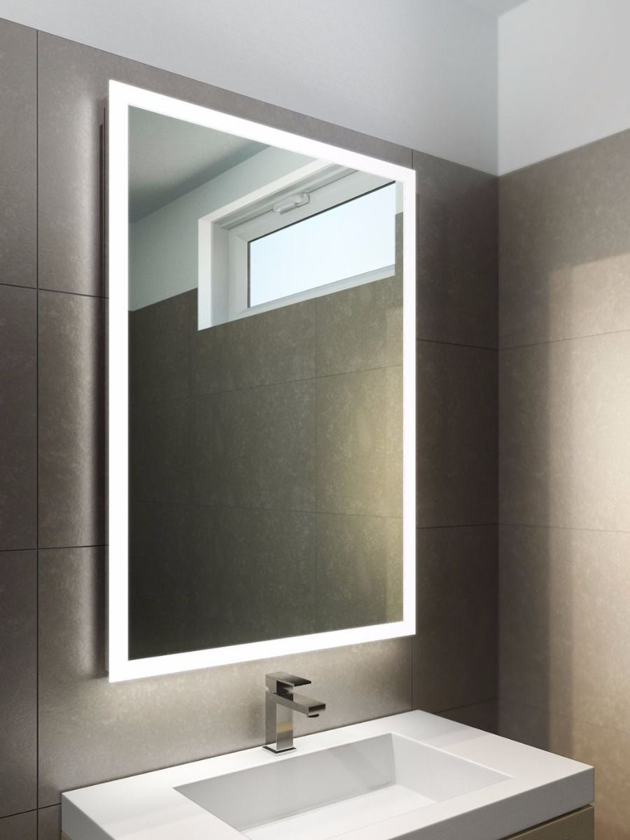 Square Or Round Edge Lit Mirror At Master Bath Vanity Light Bathroom