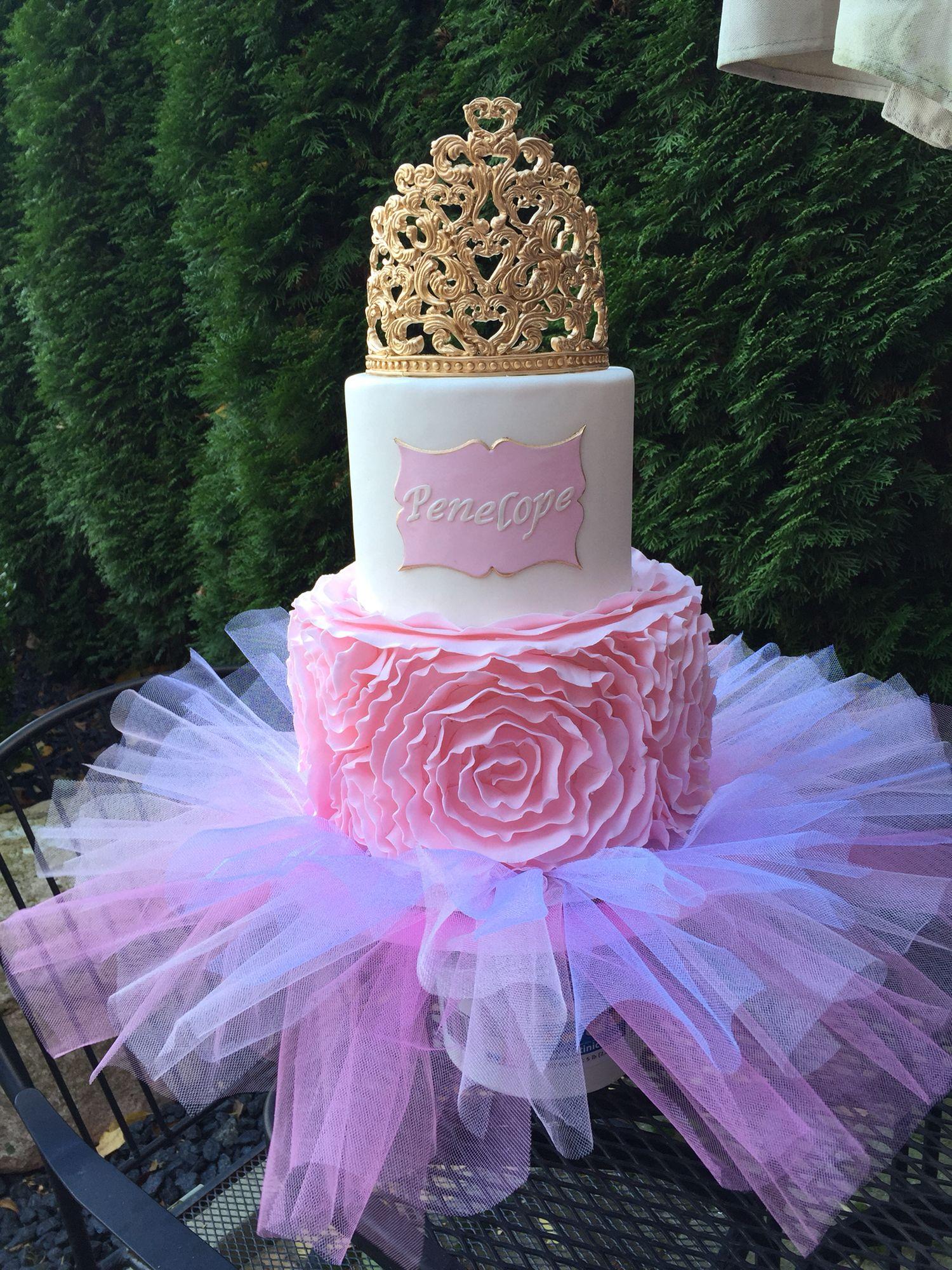 Admirable Tutu Tiara Ruffle Cake By Helen Poullath Princess Theme Cake Personalised Birthday Cards Akebfashionlily Jamesorg
