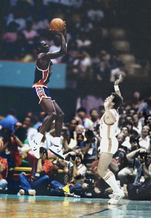 Michael Jordan, does he really have to jump that high just to shoot? Lol