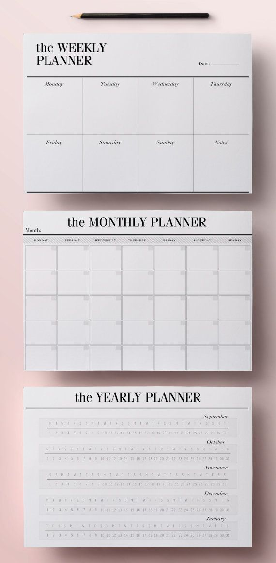 Daily Planner Pages US Letter Size 85 x 11 inches - Printable - daily monthly planners