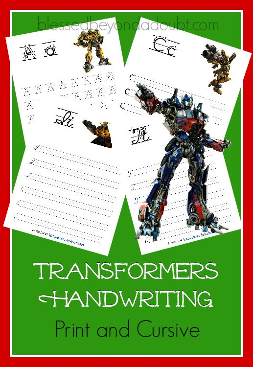 Free transformers handwriting printable set print