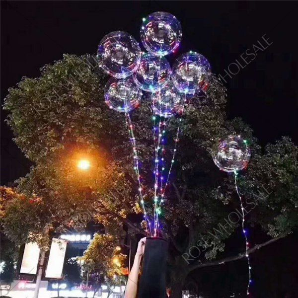 Christmas Party Balloons LED Lights Up BOBO Transparent Colorful