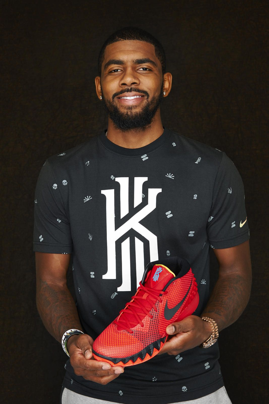 NBA superstar Kyrie Irving with his first Nike signature shoe KYRIE 1 in  the global release colorway \u0027Deceptive Red\u0027 // via