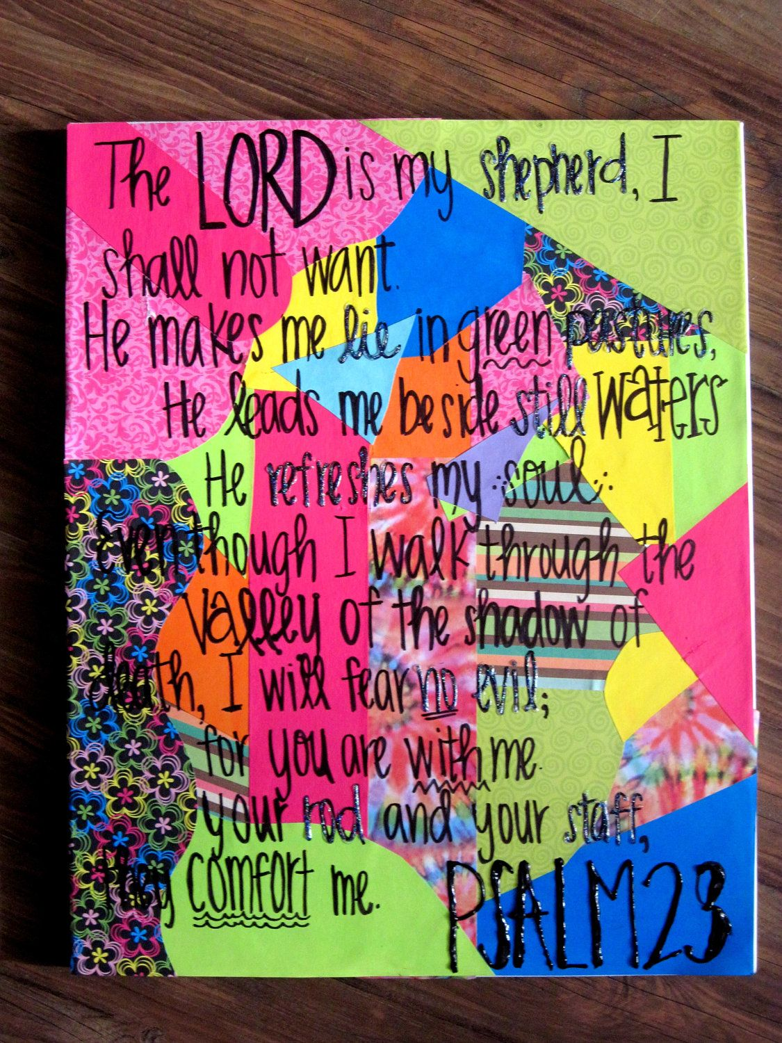 Scrapbook ideas on canvas - Bible Verse On Canvas With Scrapbook Paper For Ali S Room