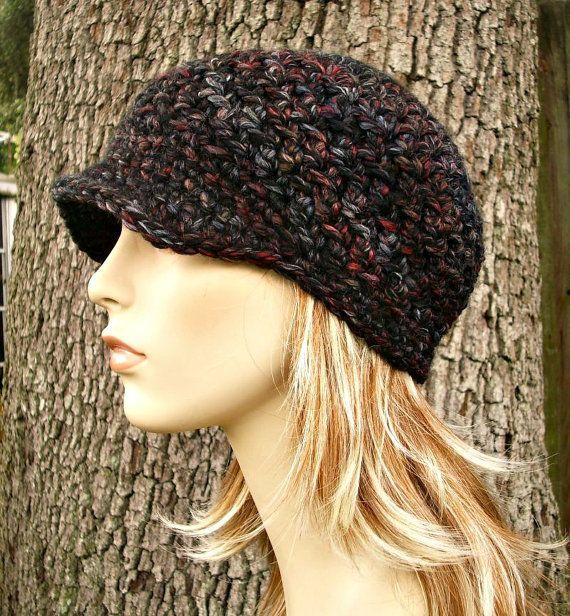 Grey Newsboy Hat Grey Hat Grey Beanie Crochet Hat Womens Hat Black ...