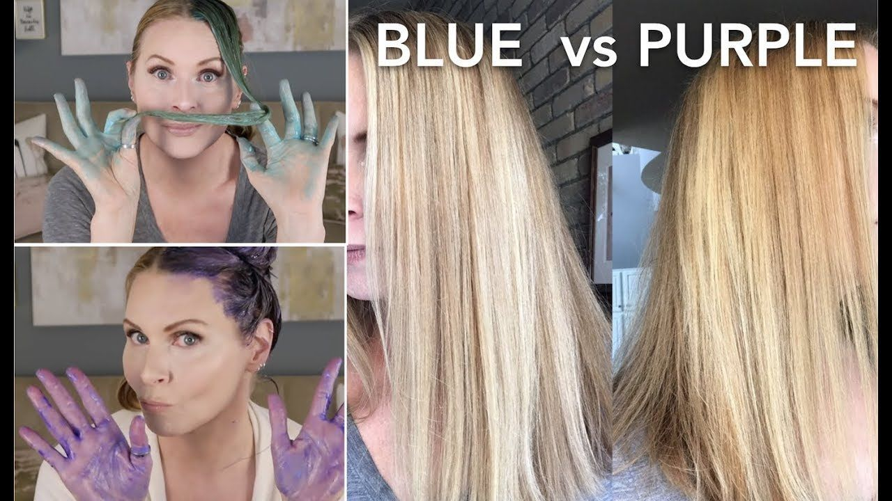 Blue Vs Purple Shampoo Brassy Hair Skip2mylou Blue Brassy Hair Purple Shampoo Skip2mylou In 2020 With Images Brassy Hair Dying Hair Blonde Blue Shampoo For Blondes