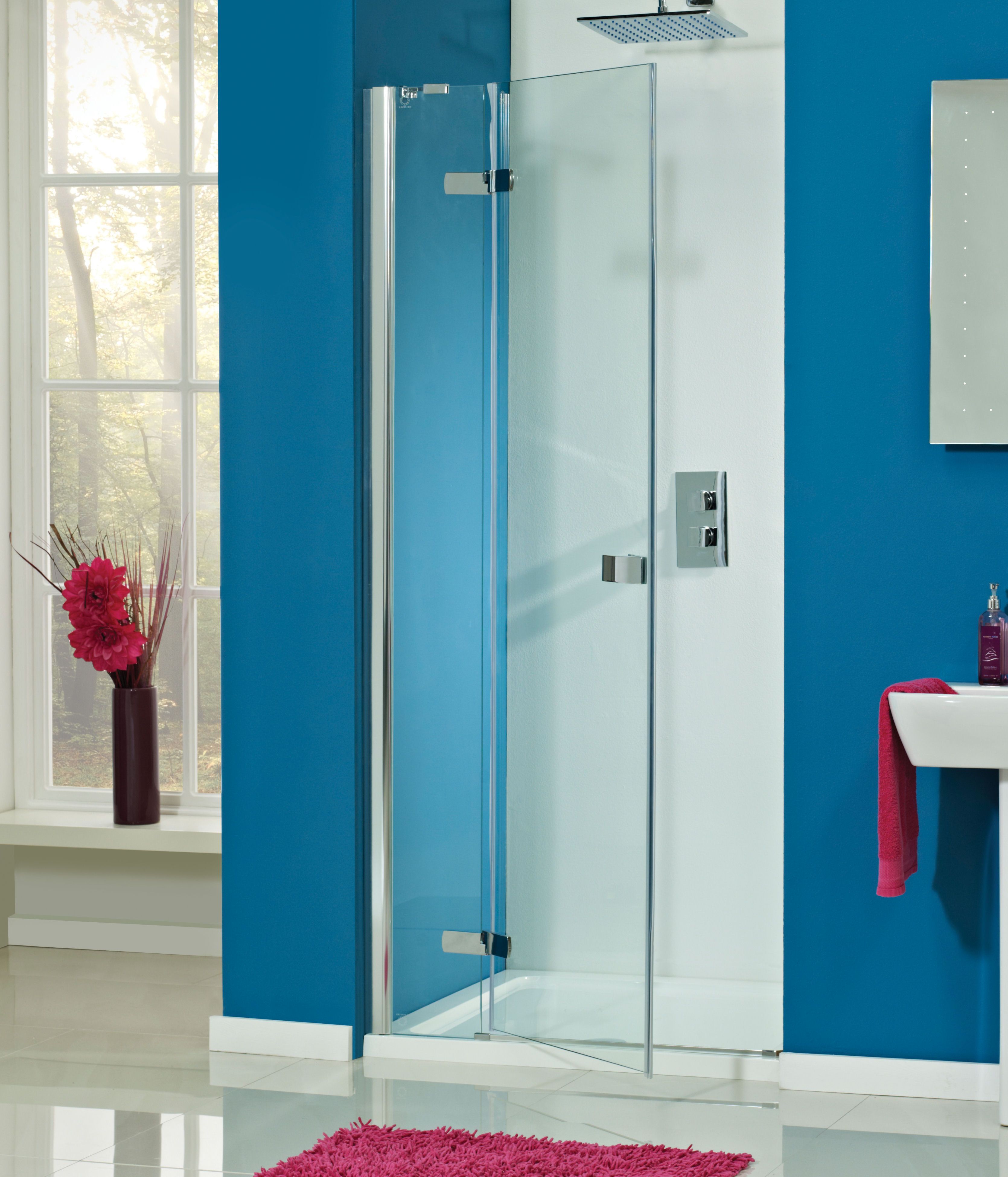 a luxury frameless hinged shower door, which has easy clean glass