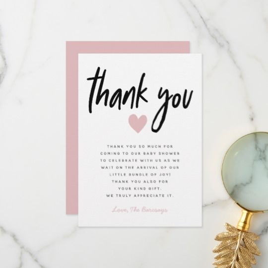 Modern Pink Heart Baby Shower Thank You Card