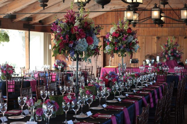 hot pink and blue wedding colors
