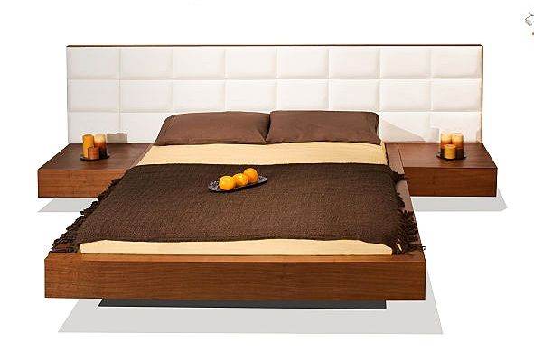 Bed W Leather Upholstered Headboard Attached Nightstands