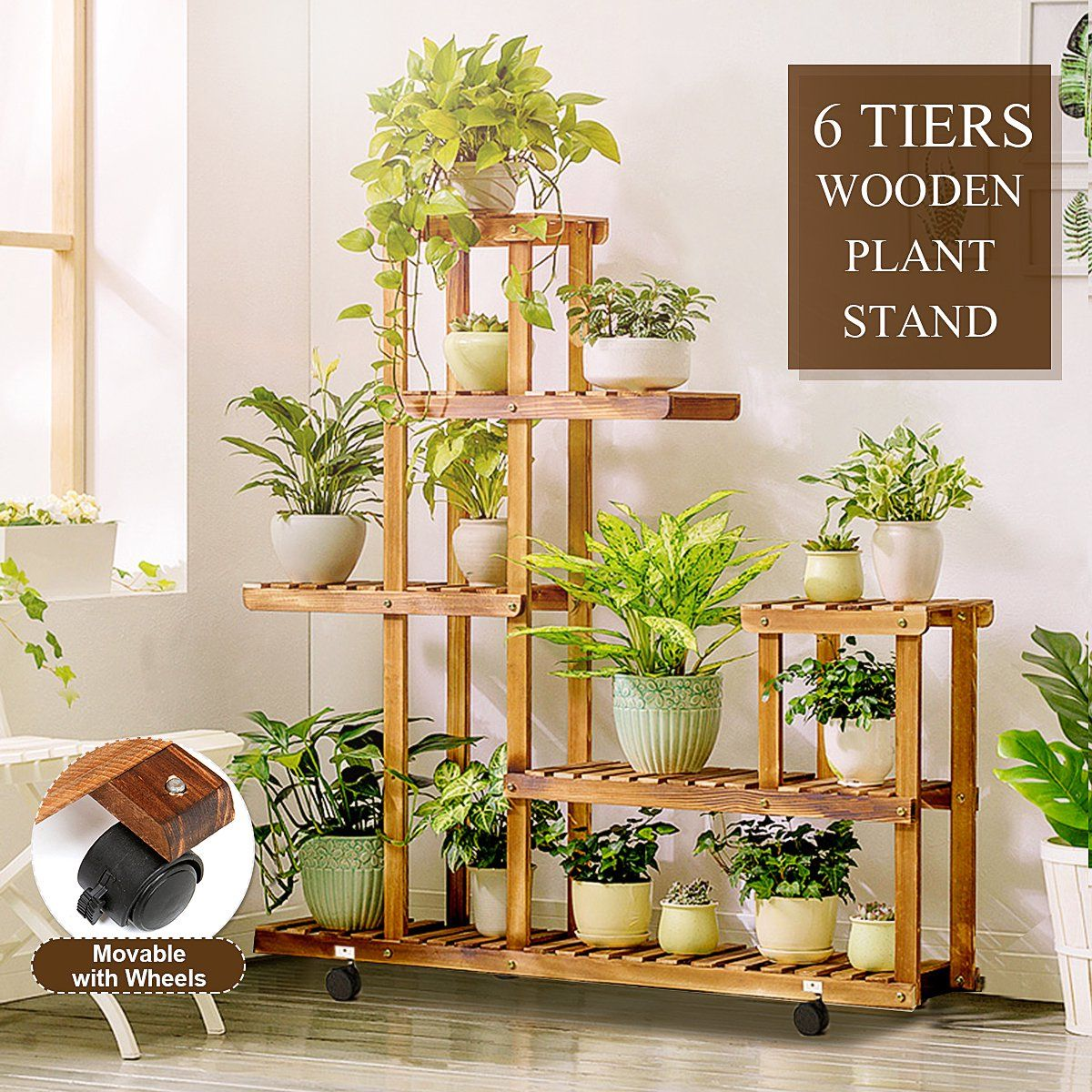 Rolling Plant Stand With Wheels Natural Wood 5 Tier Plant Shelf Indoor Outdoor Flower Pot Display Rack Holder Patio Stand For Home Garden Decor Walmart Com In 2020 Plant Stand Indoor
