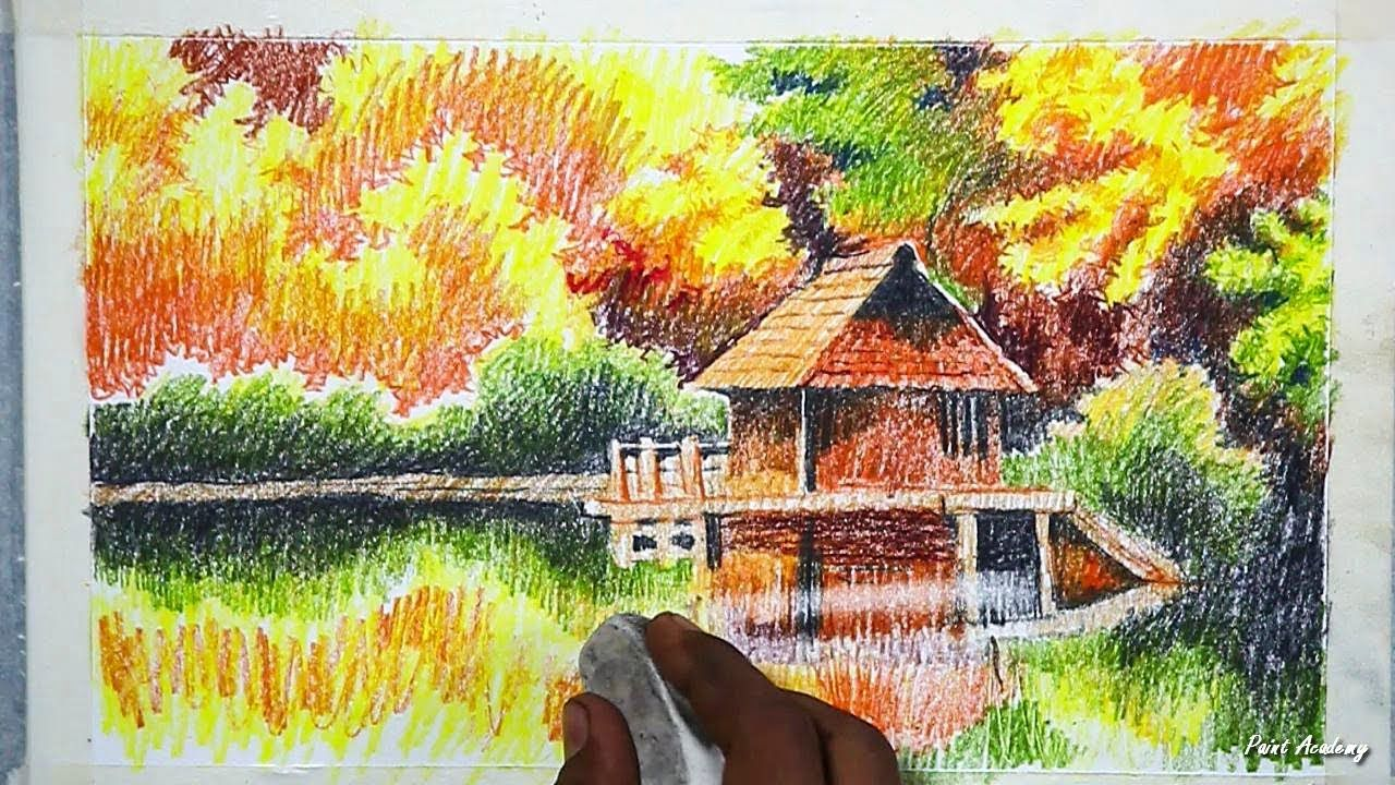 How To Draw An Beautiful Autumn Scenery In Color Pencil Step By Step Youtube Zwgrafikh