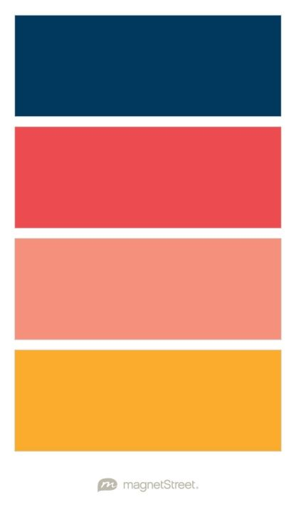 Navy, Custom Pink, Coral, and Carrot Wedding Color Palette - custom color palette created at MagnetStreet.com