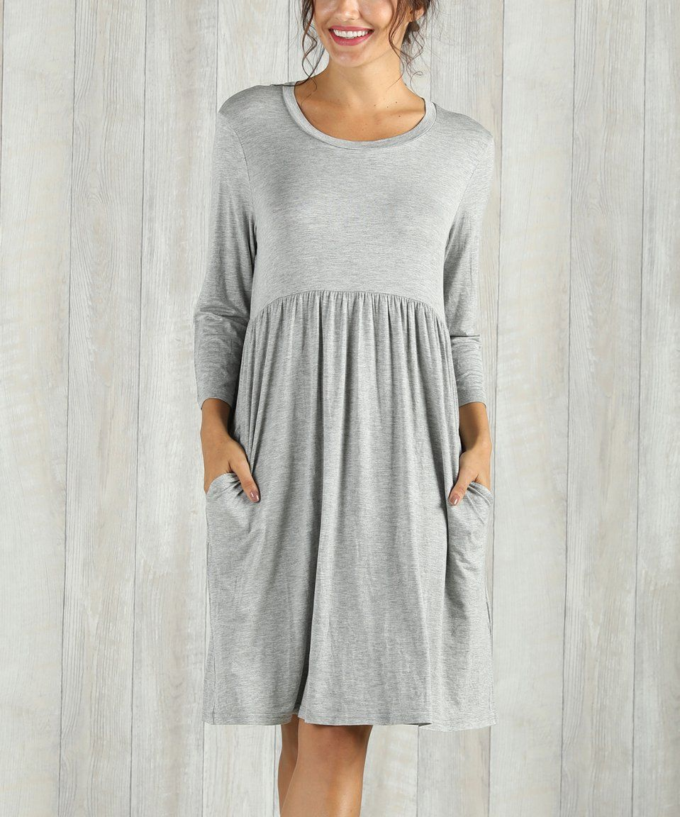 078a952489dcf6 Take a look at this Heather Gray Empire-Waist Dress - Women   Plus today!