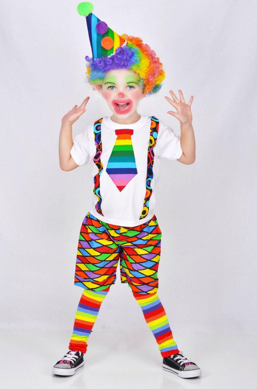 Circus Clown Clothes Party Boys Clown Costume Suspender Pant Set Fancy Dress