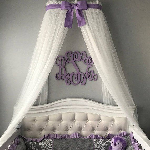 Bed Canopy Crown Princess Lilac Orchid Free Sheer Curtain