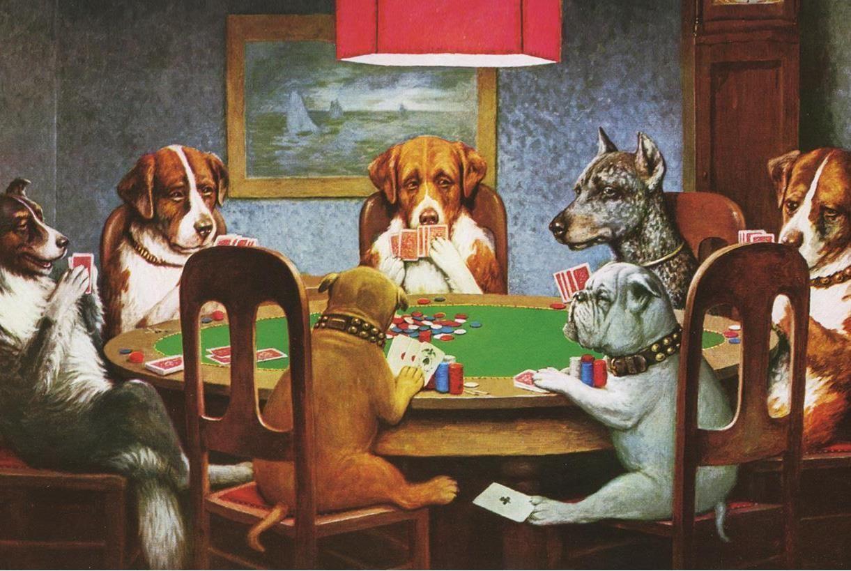 Dogs Playing Poker Picture Velvet