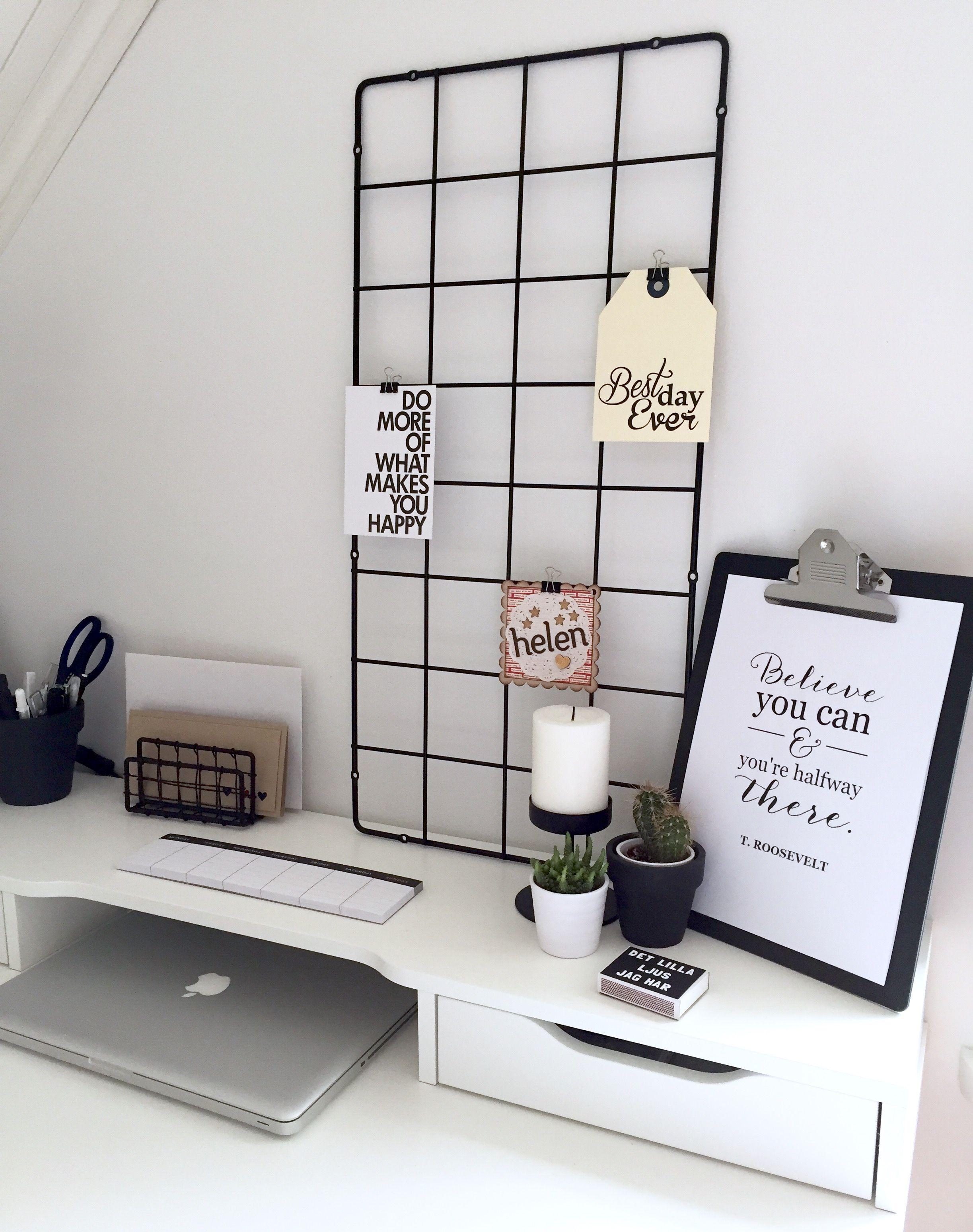 Minimalist black and white workspace ikea alex desk ikea for Black and white minimalist bedroom