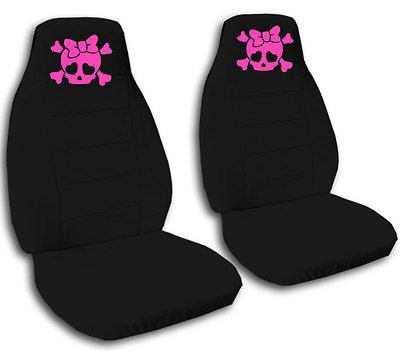 Nice Set Pink Cute Skull Car Seat Covers CHOOSE OTHER ITEMS SEAT AVBL