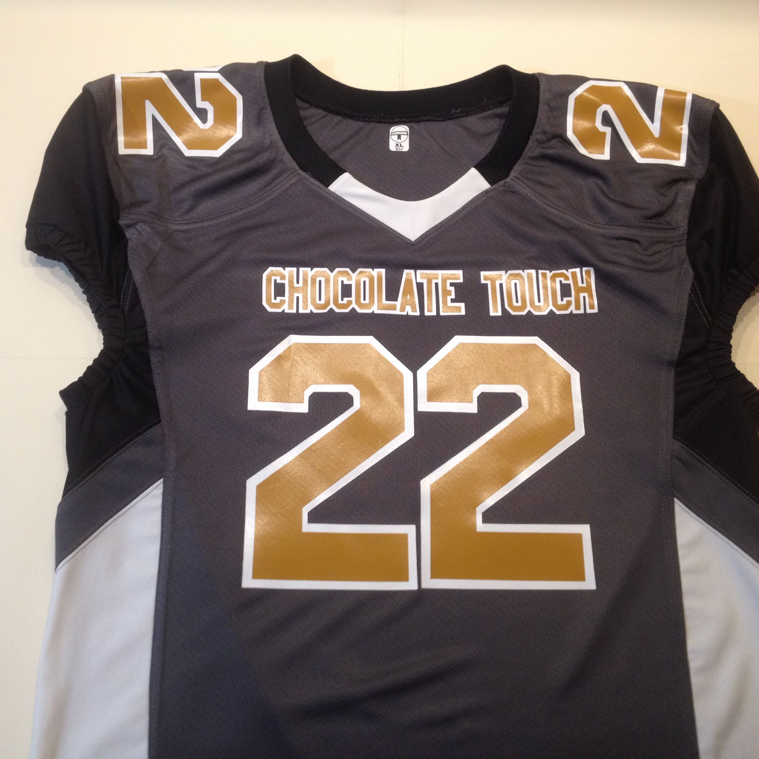 1c471945c Have fun coming up with your team name and color scheme for your   fantasyfootball  jersey. This Chocolate Touch jersey uses Old  Missouri  gold on a graphite ...