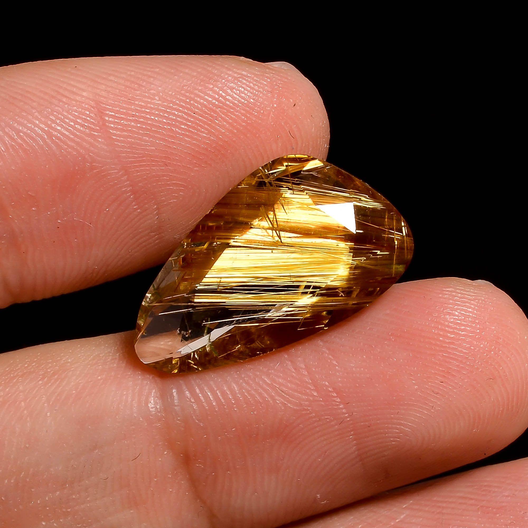 Golden Rutile Natural Cabochon Semi Precious Loose Jewelry Making Gemstone