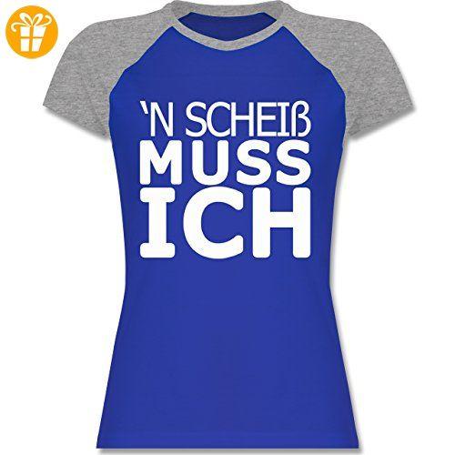 Statement Shirts - 'N Scheiß muss ich - S - Royalblau/Grau meliert -