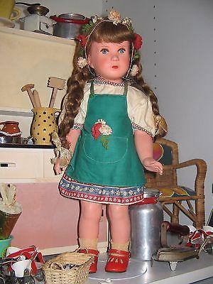 alte Puppe Mädchenpuppe Schildkröt mit Häkelkleidung Inge 42 cm ...