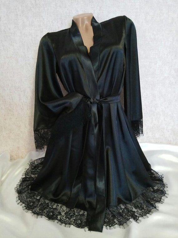 Black satin robe Bridesmaid robe Kimono robe Black lace robe Kimono ...