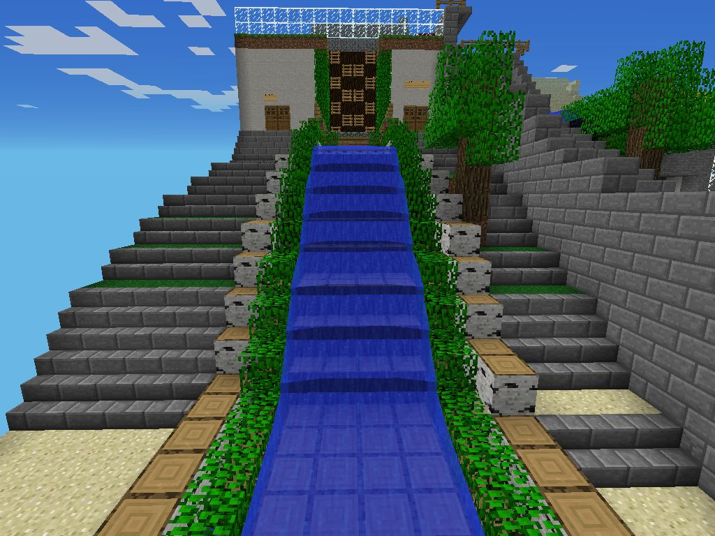 my custom water slide nature walk minecraft pe
