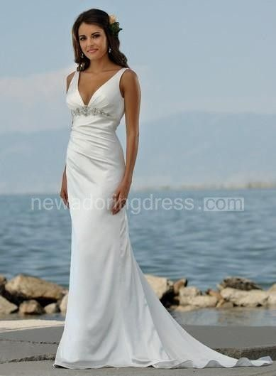 Sexy V Neck Sheath/Column Sweep Train Beaded Beach Wedding Dresses