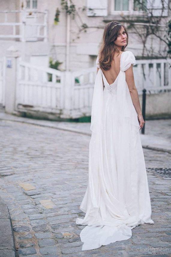 Morgane -> Wedding dress in pure silk and chiffon. Romantic, vintage ...