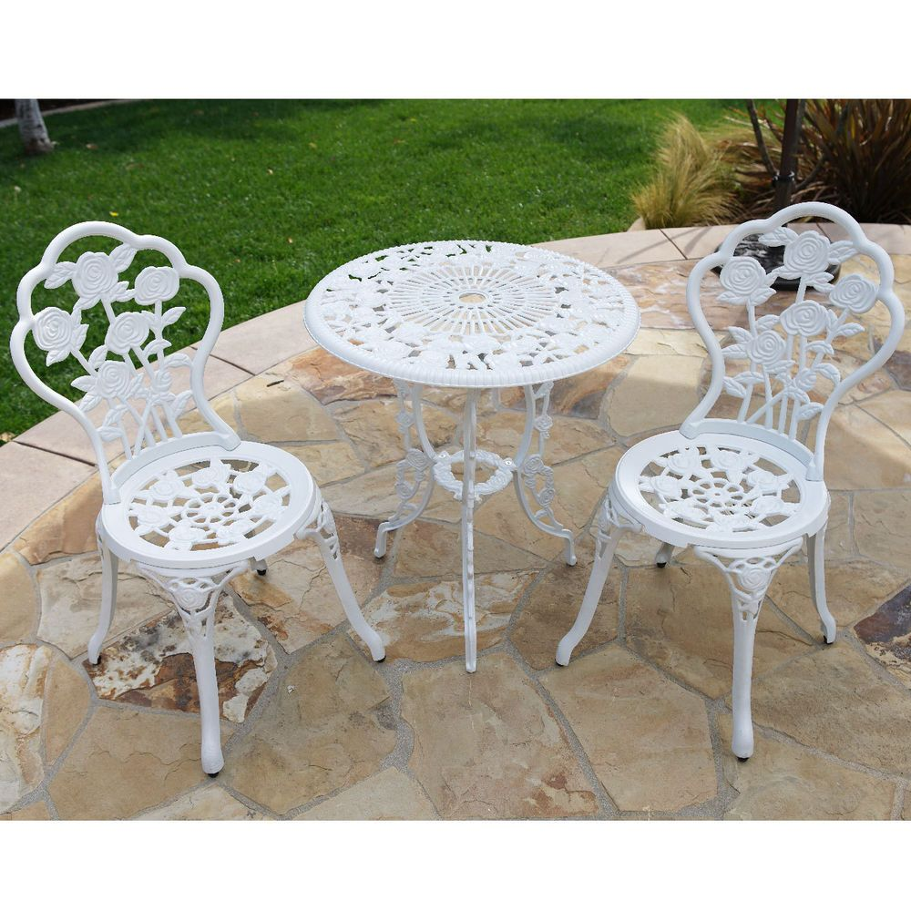 3pcs Patio Furniture Cast Aluminum Bistro Set Table Chair Outdoor Antique