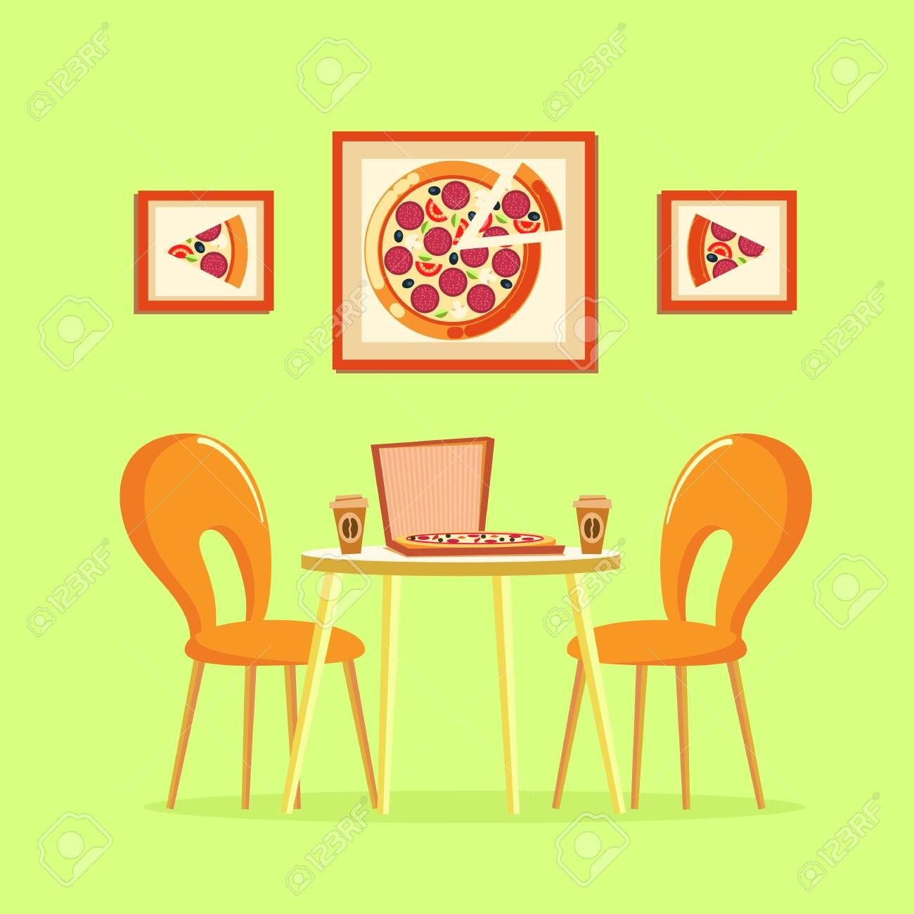 Restaurant table with pizza pictures decoration on wall vector Box with Italian pizzeria slices of prepared meal with tomatoes salami cheese ingredients