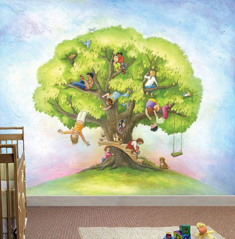Wall Murals | Large Wall Mural Kids TreeKid In The Mural Part 61