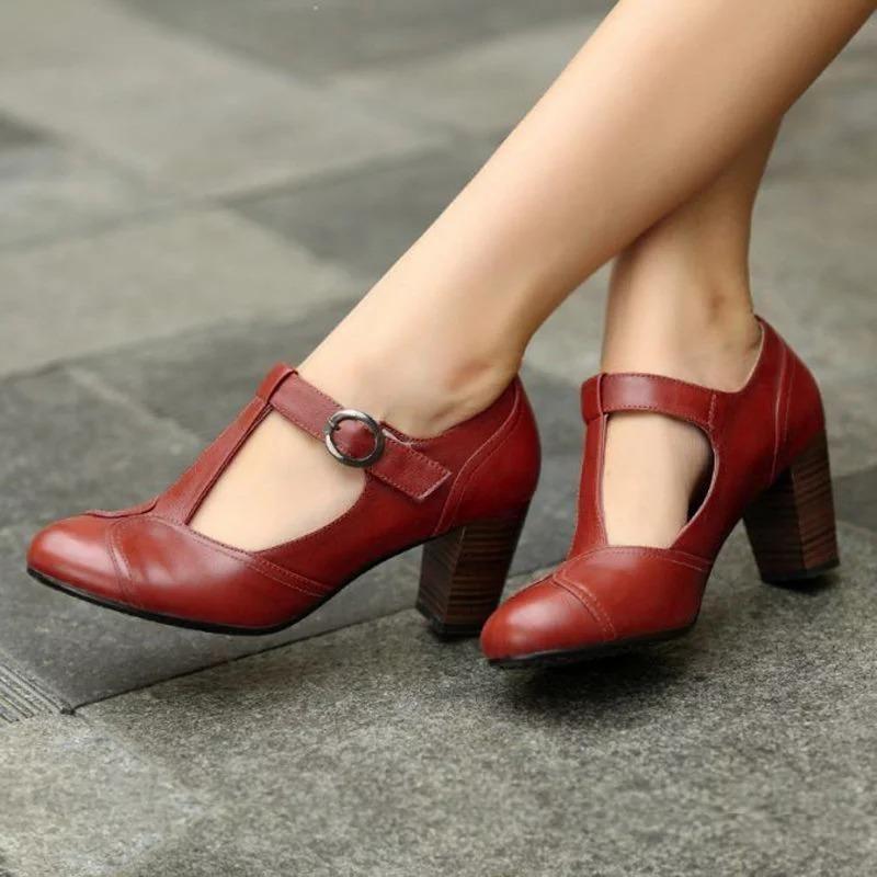Details about  /Women/'s Autumn Leather Buckle Block High Heels Platform Shoes Round Toe Buckle