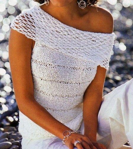 Photo of Lavori a maglia per una maglietta senza maniche e ampio collo