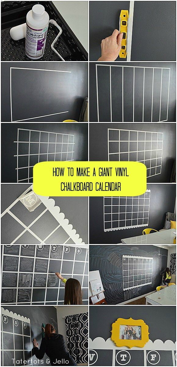 Navy Chalkboard Wall And Giant Calendar Tutorial Kreidetafel Kalender Familienkalender Und Kuchen Tafel