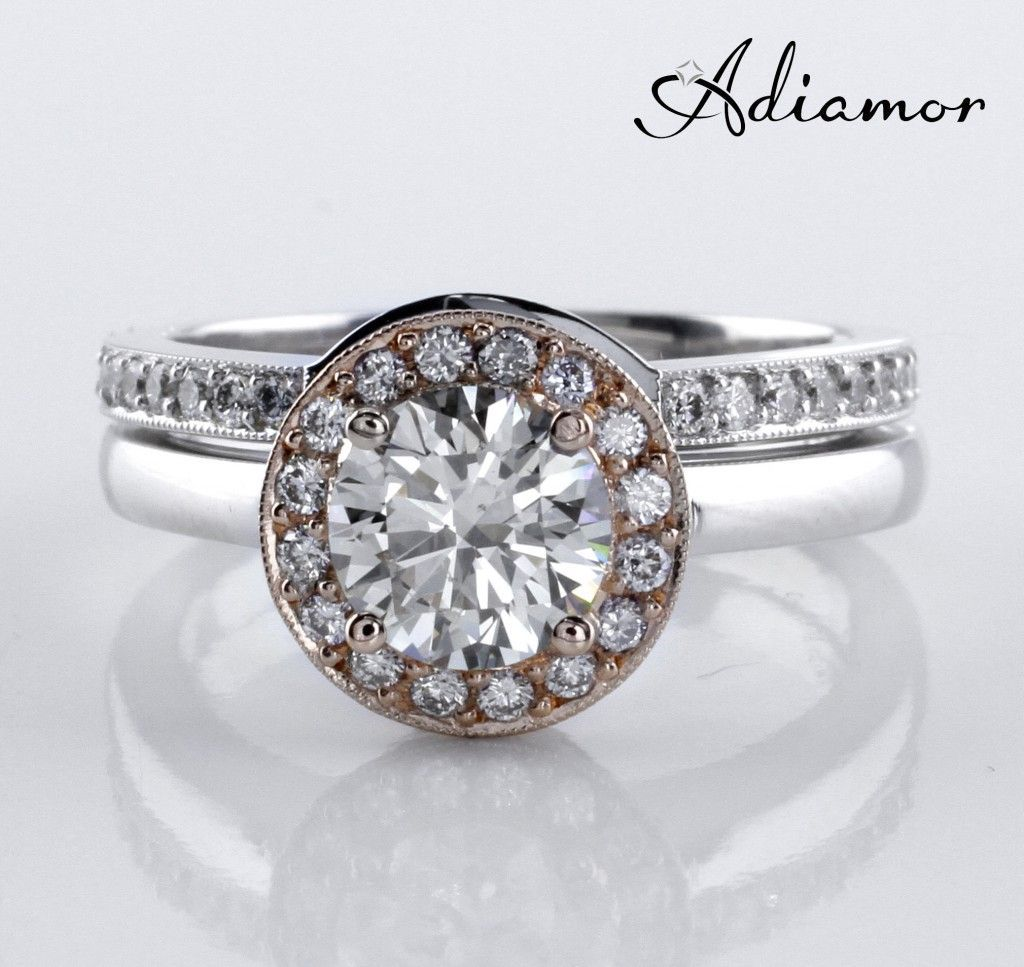 R2877, the Two Toned Halo Ring with Matching Curved