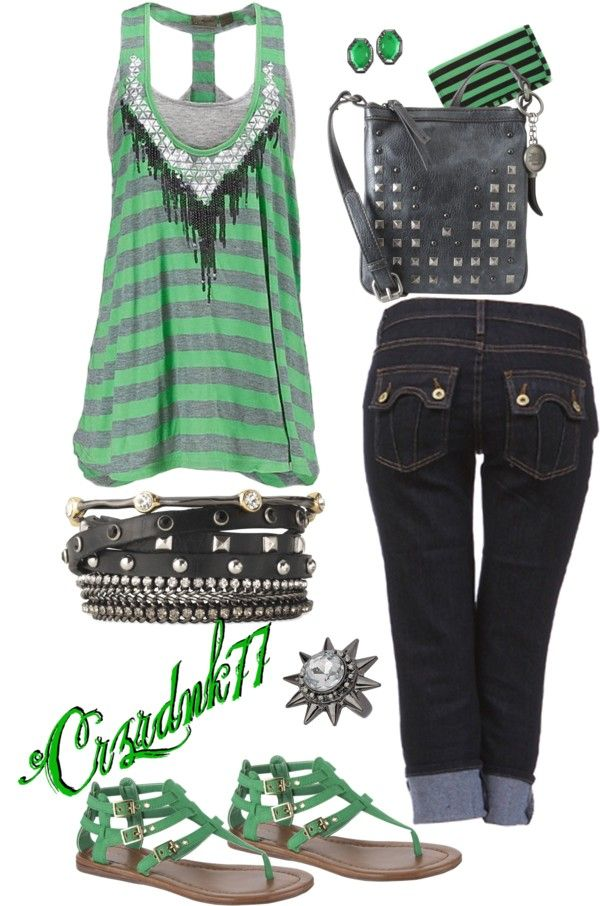"""Green Stripes"" by crzrdnk77 on Polyvore"